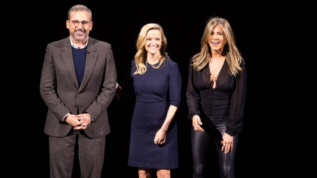 Actors Steve Carell, Reese Witherspoon and Jennifer Aniston speak during an event launching Apple tv+ at Apple headquarters on March 25, 2019, in Cupertino, California