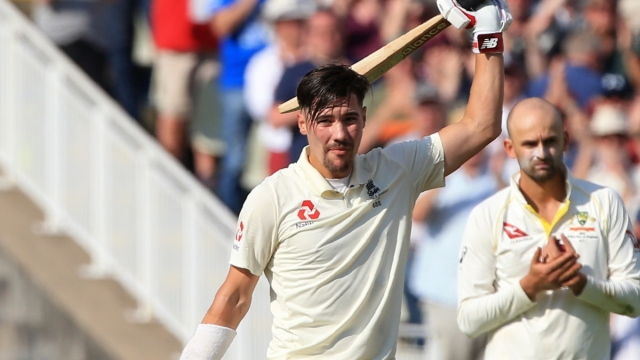 Rory Burns celebrates his maiden Test century on the second day of the first Ashes Test at Edgbaston