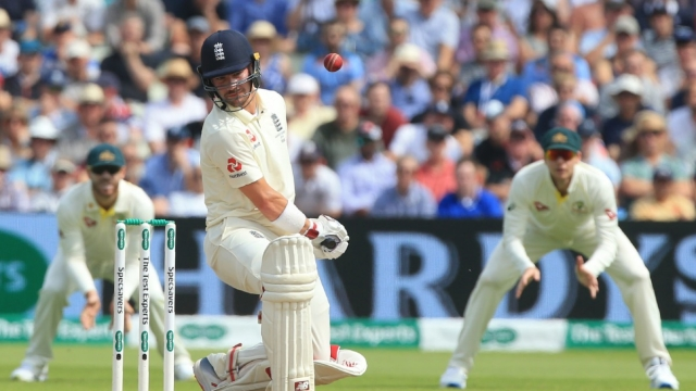 England's Rory Burns evades a short ball during play on the third day of the first Ashes test match (AFP/Getty Images)