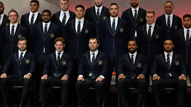 Australia's head coach Michael Cheika and his squad during the Australia Rugby World Cup squad announcement on 23 August 2019 (AFP/Getty Images)