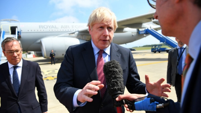 Boris Johnson arrives in Biarritz, France (Photo by Dylan Martinez/Pool/Getty Images)