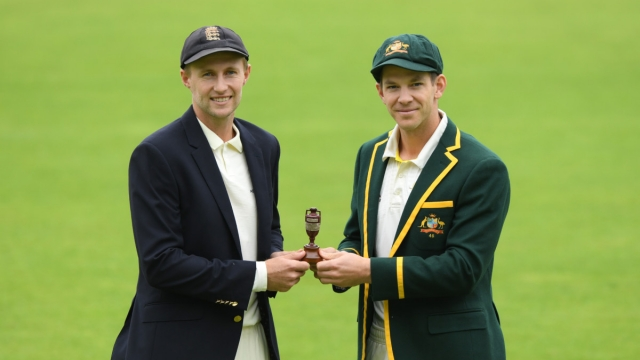 England captain Joe Root (l) and Australia captain Tim Paine pictured holding the urn ahead of the First Ashes Test Match against Australia at Edgbaston