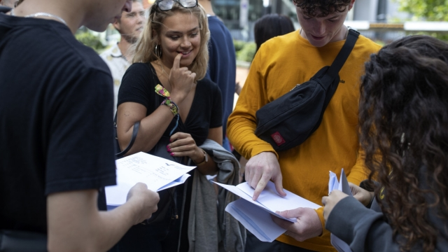 Sixth form students receive their A-Level results at Stoke Newington School (Getty Images)