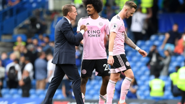 Brendan Rodgers, Manager of Leicester City shakes hands with Hamza Choudhury following the Premier League match with Chelsea FC (Getty Images)