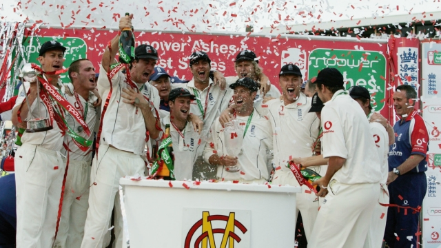 The England team celebrate after regaining the Ashes during day five of the Fifth npower Ashes Test match between England and Australia at the Brit Oval on September 12, 2005