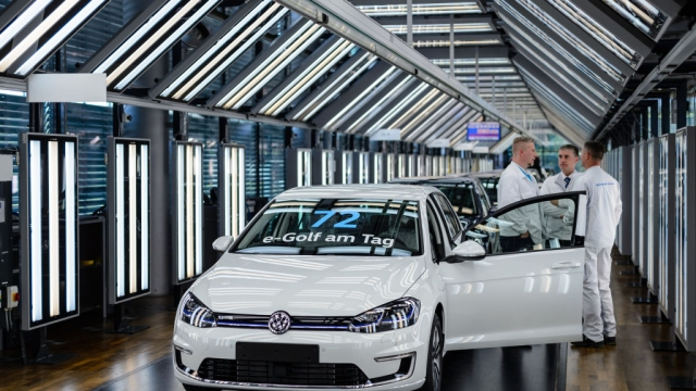 The Volkswagen advert was created for to showcase the e-Golf (pictured), one of the German carmaker's all-electric vehicles