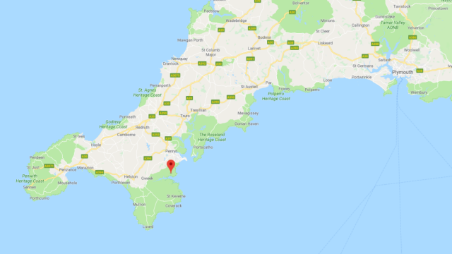 Map shows location of the earthquake was about three miles (5km) south-west of Falmouth