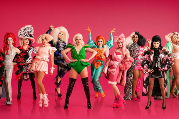 The line-up for the first ever RuPaul's Drag Race UK, including 'Baga Chipz' and 'Cheryl Hole'