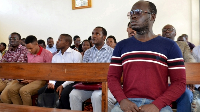 Mr Kabendera during a hearing at a magistrates court in Dar es Salaam