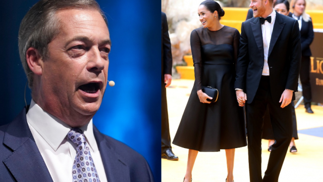 Nigel Farage attacked the Duke and Duchess of Sussex in his speech
