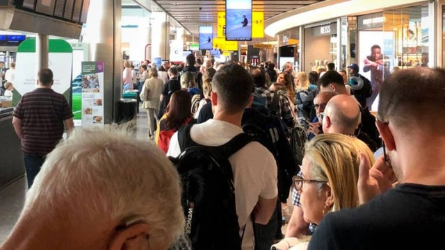 Huge queues snaked through the terminals at Heathrow pictured, Gatwick and London City yesterday amid the chaos