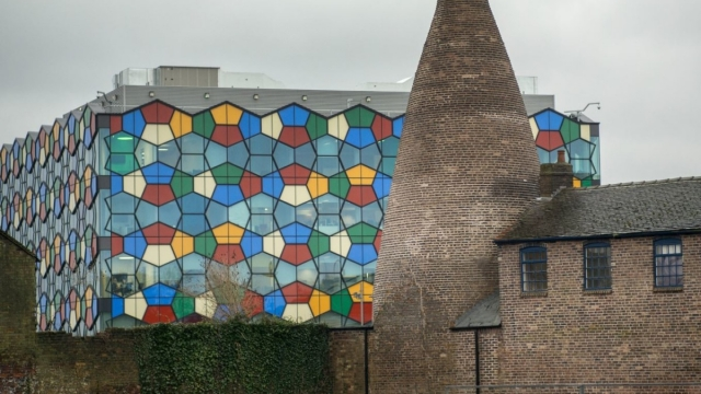 Contrasts: a preserved bottle kiln and modern office in Stoke-on-Trent