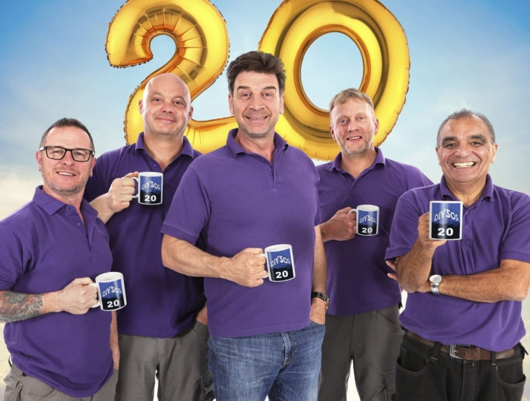 Mark Millar, Julian Perry, Nick Knowles, Chris Frediani, Billy Byrne Image to celebrate 20 year anniversary of DIY SOS