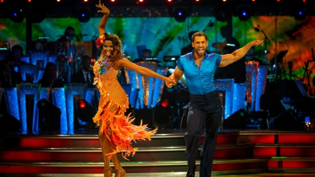 Last-minute stand-in Kelvin Fletcher and Oti Mabuse stole the show with an electrifying samba and ended up top of the leader board in week one of Strictly. Photo: BBC/ Guy Levy