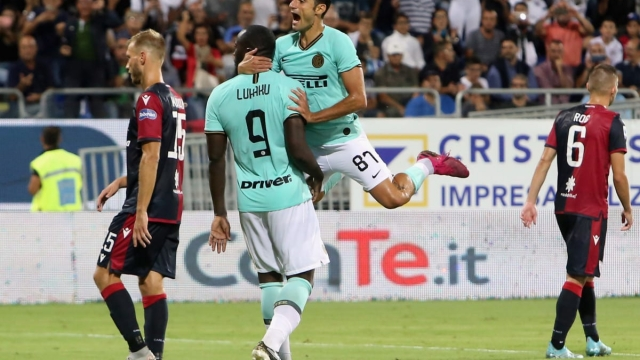 Romelu Lukaku looks pointedly at the Cagliari fans after scoring in a 2-1 win for Inter Milan
