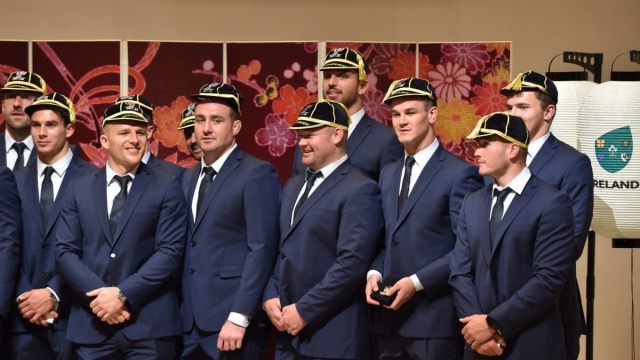 Article thumbnail: Members of Ireland's national rugby team take part in a welcome ceremony on 13 September 2019 (AFP/Getty Images)