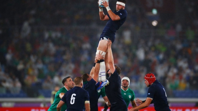 Scotland's prop Simon Berghan catches the ball in a line out against Ireland (AFP/Getty Images)