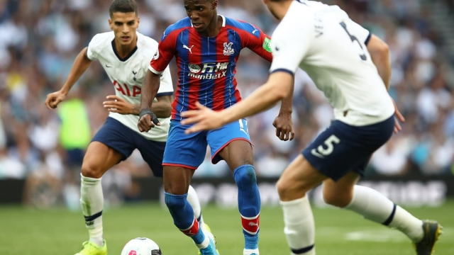 Wilfried Zaha struggles to find a way through against Spurs