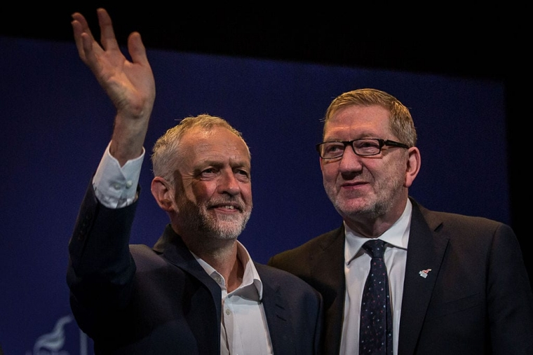 Jeremy Corbyn, Leader of Labour Party, stands next to Len McCluskey, General Secretary of Unite