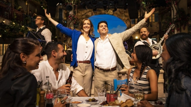 Article thumbnail: Steph Parry and Fed Zanni entertain guests at Mamma Mia! The Party at The O2. Photo: Helen Maybanks