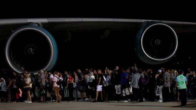 British Thomas Cook customers board an Airbus A380 at Dalaman Airport in Turkey
