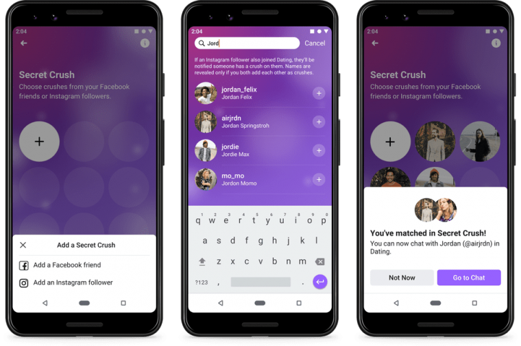 The Secret Crush list could connect Instagram users too (Photo: Facebook)