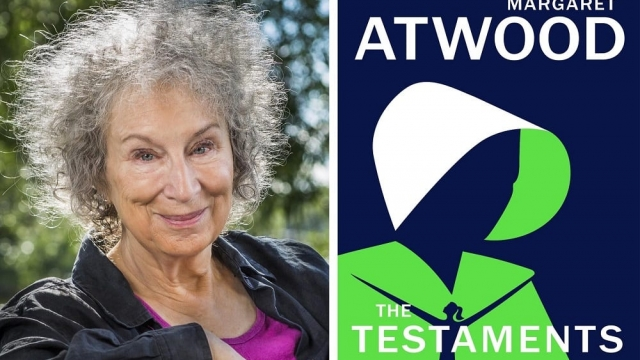 Margaret Atwood with the front cover of her new book, The Testaments. (Photo: The Booker Prize/PA)