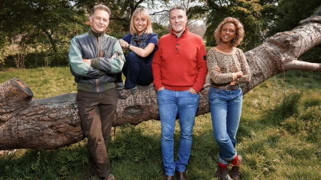 The Autumnwatch team: Chris Packham, Michaela Strachan, Iolo Williams, Gillian Burke