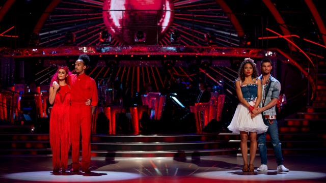 Emma Weymouth and Aljaž Skorjanec in the Strictly Come Dancing dance off against Dev Griffin and Dianne Buswell