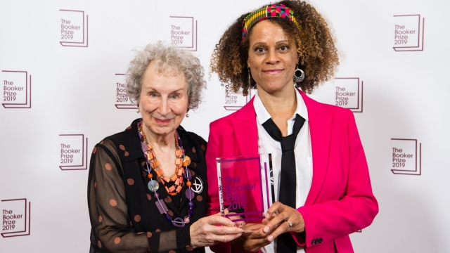 Joint winners Margaret Atwood and Bernardine Evaristo at the 2019 Booker Prize Winner Announcement