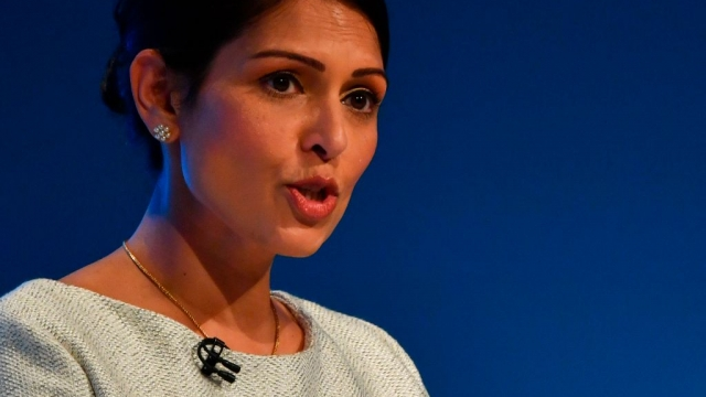 Priti Patel giving her key note speech at the Conservative Party conference 2019