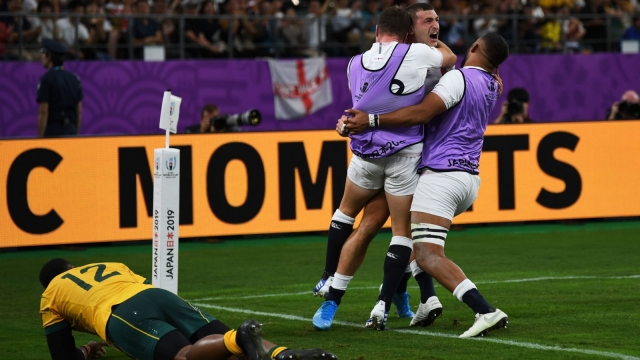 England's wing Jonny May after scoring against Australia at Oita Stadium on 19 October 2019 (AFP via Getty Images)