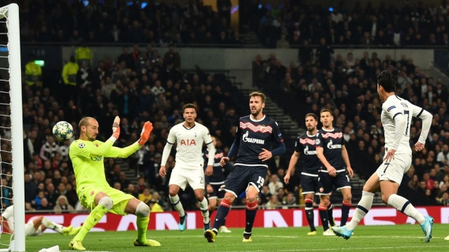 Article thumbnail: Tottenham Hotspur's South Korean striker Son Heung-Min scores his team's second goal against Red Star (AFP via Getty Images)