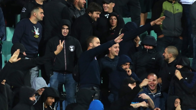 Bulgarian fans giving Nazi salute during the UEFA Euro 2020 qualifier between Bulgaria and England in Sofia