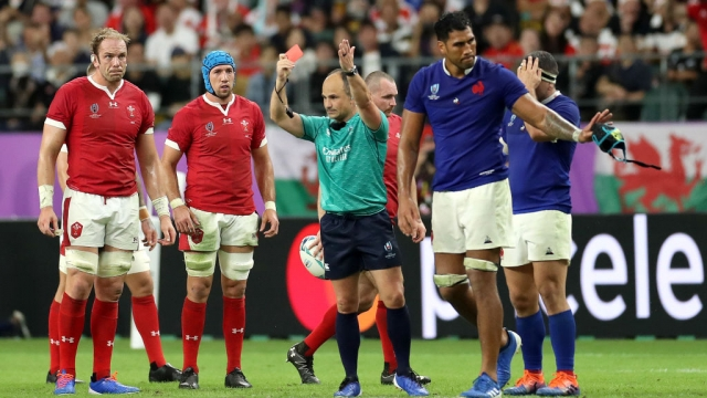 Article thumbnail: Sebastien Vahaamahina of France receives a red card from referee Jaco Peyper (Getty Images)