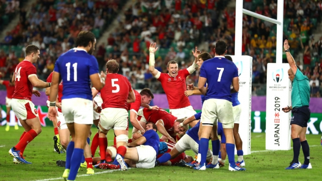 Article thumbnail: Wales celebrates after Ross Moriarty of Wales scores their team's final try against France (Getty Images)