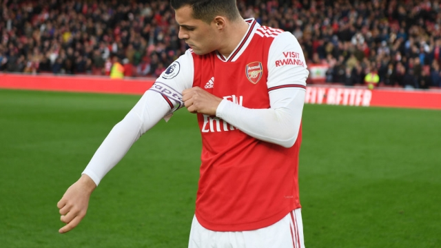 Arsenal captain Granit Xhaka before the Premier League match against Crystal Palace (Arsenal FC via Getty Images)