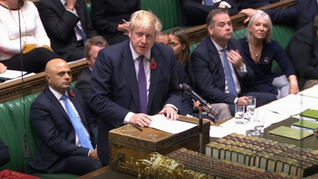 Prime Minister Boris Johnson speaks during the election debate ahead of the vote in the House of Commons, London. (Photo credit: House of Commons/PA Wire)