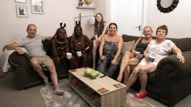 The Moffat family meet the neighbours in The British Tribe Next Door. Photo: Channel 4