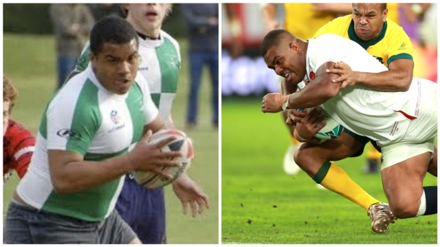 From Ironside to International: Kyle Sinckler during his Ironside days (left) and scoring against Australia (right)