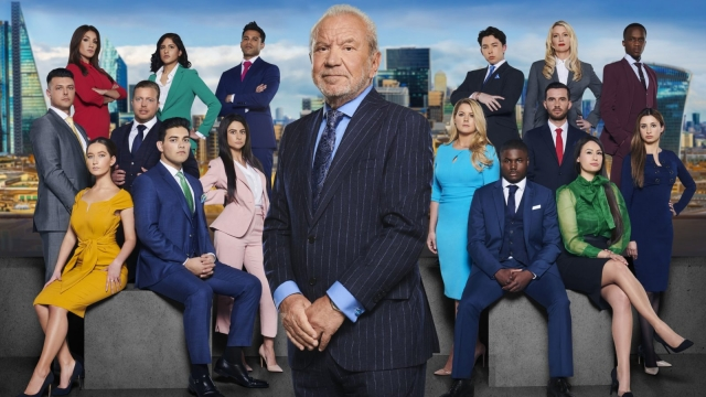 Lord Sugar in front of the new candidates for this year's BBC One contest, The Apprentice