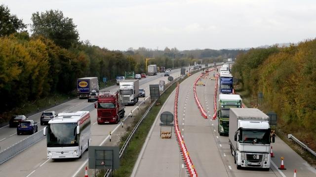 Traffic passes through Operation Brock on the M20 in Ashford, Kent, on 28 October (Photo: Gareth Fuller/PA)