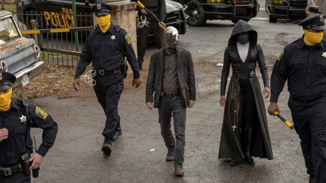 Regina King as Angela Abar/Sister Night & Tim Blake Nelson as Looking Glass in Watchmen on Sky Atlantic