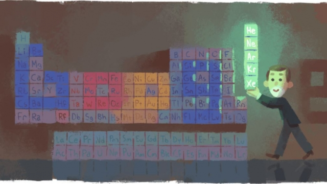 The Google Doodle commemorating the Scottish chemist Sir William Ramsay