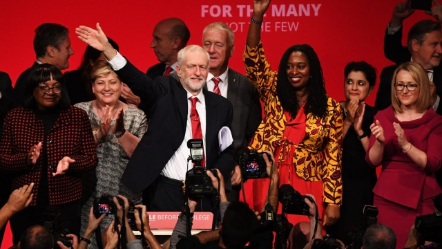Labour leader Jeremy Corbyn surrounded by shadow cabinet members