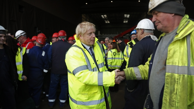 Boris Johnson greets workers at Wilton Engineering Services as part of a General Election campaign trail stop in Middlesbrough today