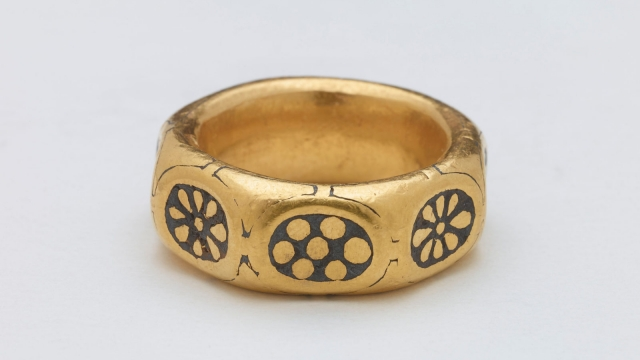A gold ring from the ninth century which was part of a £3 million Viking hoard