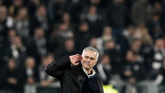 TOPSHOT - Manchester United's Portuguese manager Jose Mourinho gestures towards the public at the end of the UEFA Champions League group H football match Juventus vs Manchester United at the Allianz stadium in Turin on November 7, 2018. (Photo by Isabella BONOTTO / AFP) / The erroneous mention[s] appearing in the metadata of this photo by Marco BERTORELLO has been modified in AFP systems in the following manner: [---] instead of [---]. Please immediately remove the erroneous mention[s] from all your online services and delete it (them) from your servers. If you have been authorized by AFP to distribute it (them) to third parties, please ensure that the same actions are carried out by them. Failure to promptly comply with these instructions will entail liability on your part for any continued or post notification usage. Therefore we thank you very much for all your attention and prompt action. We are sorry for the inconvenience this notification may cause and remain at your disposal for any further information you may require. (Photo credit should read ISABELLA BONOTTO/AFP via Getty Images)