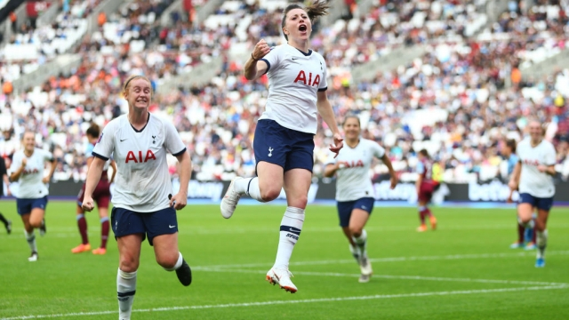 Lucy Quinn of Tottenham celebrates scoring her sides second goal against West Ham United on 29 September 2019 (Getty Images)