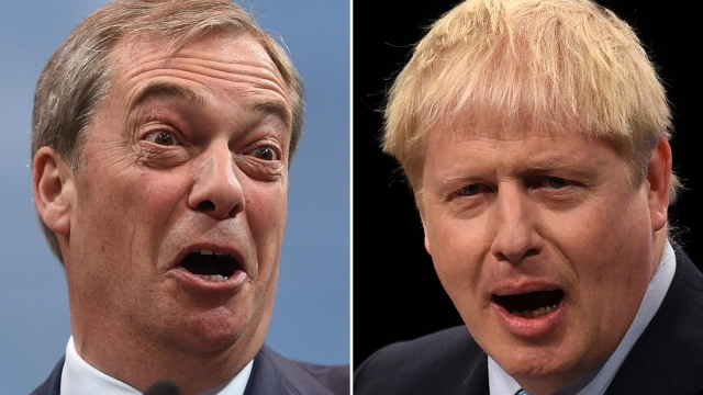 Only the Brexit Party, led by Nigel Farage, left, has poorer green credentials than Boris Johnson's Conservatives